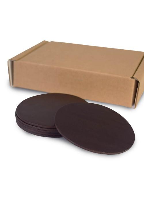 Набор костеров из темно-коричневой кожи 6 шт.