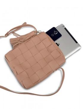 Плетеная сумка-планшет Modena (пудра)